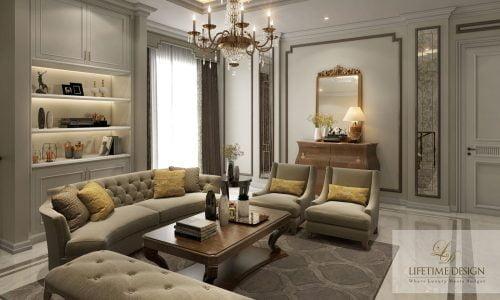 Desain ruang tamu pada rumah klasik