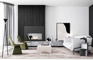 Pilihan warna hitam putih memberikan ruangan tampilan elegan dan berkelas yang minimalis.